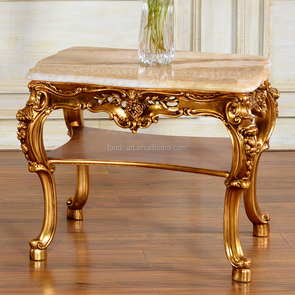 C60 European Style Antique Gold Marble Top Tea Table