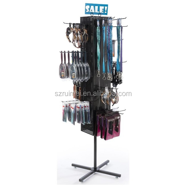 Floor Pegboard Retail Spinner Rack Electric Rotating Display Stand