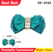 Customized PVC cloth flower buckle accessories jelly slipper shoe for woman