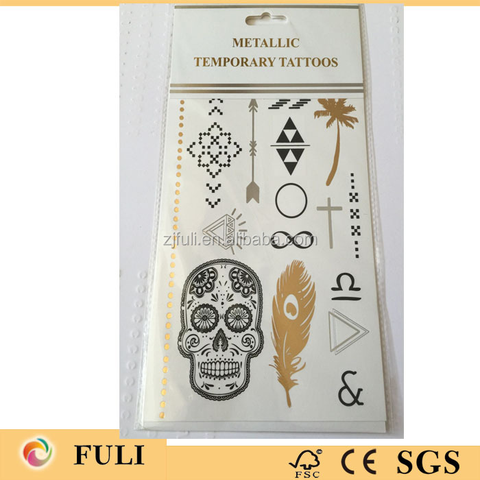 Flash temporary metallic tattoos
