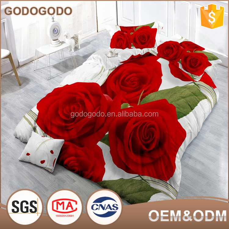 Luxury Confortable 100% Polyester King Size Big Flower Digital Printed Wedding 3D Bedding Set