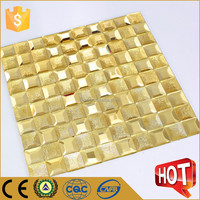 Popular gold mirror glass mosaic tile testure wall tile for bedroom