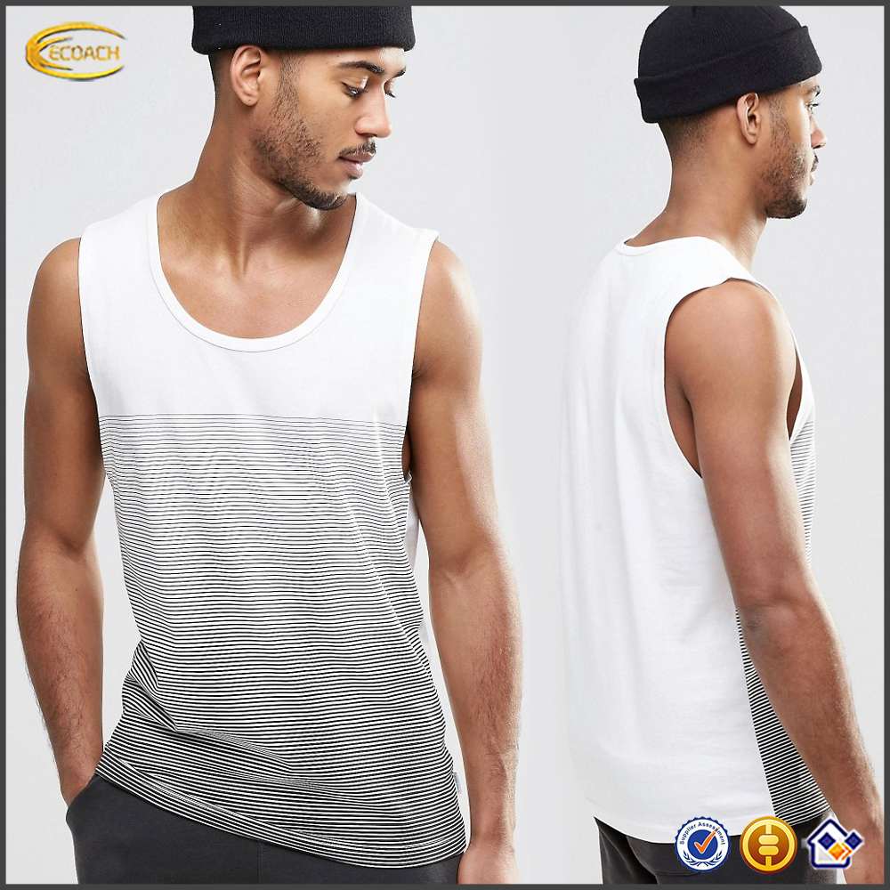 Lightweight cotton wholesale custom print black and white fitness gym vest muscle men round neck tank top singlet dry fit 2016