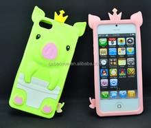 Phone Silicone Case Animal Shaped Phone Cases For iPhone 4 5 6 Lovely 3D Crown Pig Silicone housing for iphones