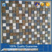 Very popular and cheap Nature Erosion Resistance White quartz blue mosaic stone