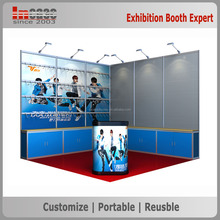 3x3 Aluminum extrusion customized exhibition booth with pegboard