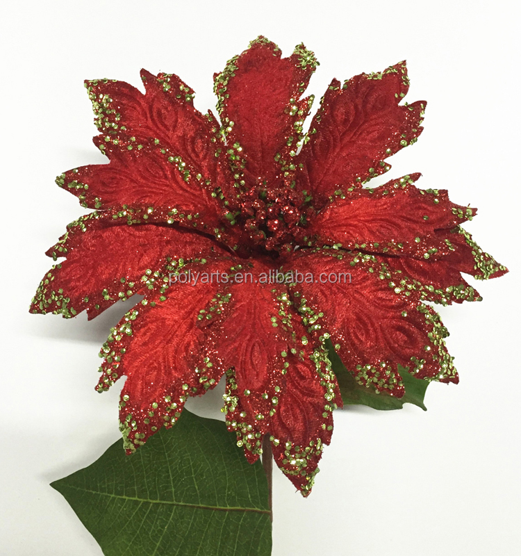 2016 Artificial Christmas flower Oversize Poinsettia Natale Christmas with gingle bell