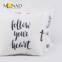 New Arrival Poly And Cotton Fabric Decorative Custom OEM Printing Alphabet textile slogan Design Throw floor Pillow Case
