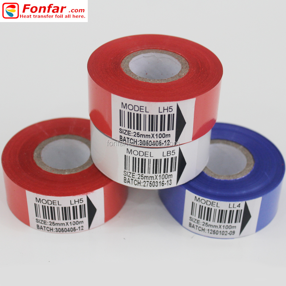 25 mm * 100m Red White Blue Fonfar Hot Stamping Foils for Coding in Plastic Pakages