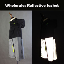 Wholesales 100% polyster Black Grey Style Reflective <strong>Safety</strong> Zip up Jacket