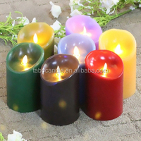 led real wax artificial flame moving candle/flameless moving wick LED candle