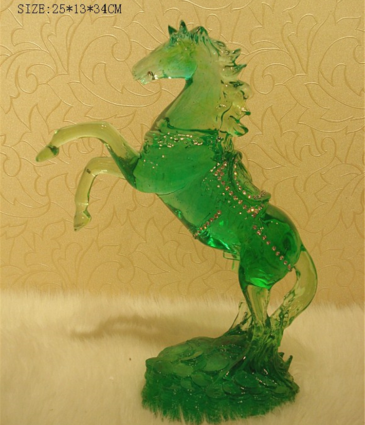 Polished resin imitated jade indoor outdoor garden polyresin colorful horse statue