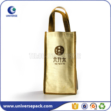 Custom handled jute wine bottle carry bag with printing