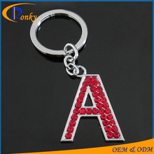 New products 2016 red crystal rhinestone keychain letter A alphabet keychain