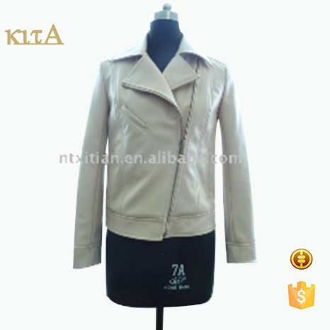 brand quality casual fashion biker leather jacket for women