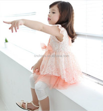 Z10069B 2015 SUMMER COTTON LACE BOWLNOT DRESS GIRL'S DREAM DRESS
