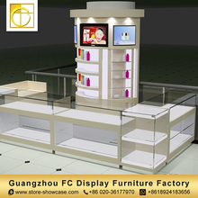 guangzhou custom rotating glass display cabinet cosmetic showcase cosmetic shop interior design store furniture