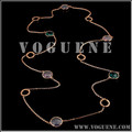brand Color gemstones Winter sweater chain stainless steel long necklace
