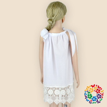 2015 hot sale charming pure silk ribbon bowknot girl white dresses,hollow out dress for children,baby girls party wear dress