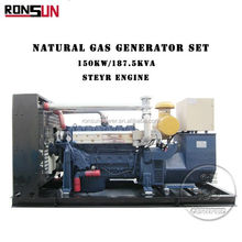 CE approved canopy chp type 150kW 187.5kvA natural gas/biogas/ lpg gas electric generator price for sale