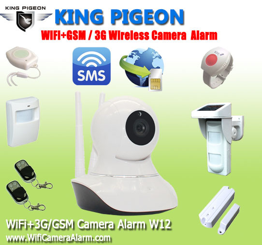 wifi security p2p camera with 3G/GSM sim card slot camera alarm W12
