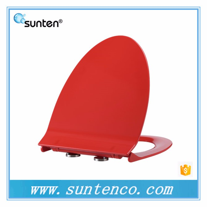 Soft Closing Red ElongatedV Shape Toilet Seat
