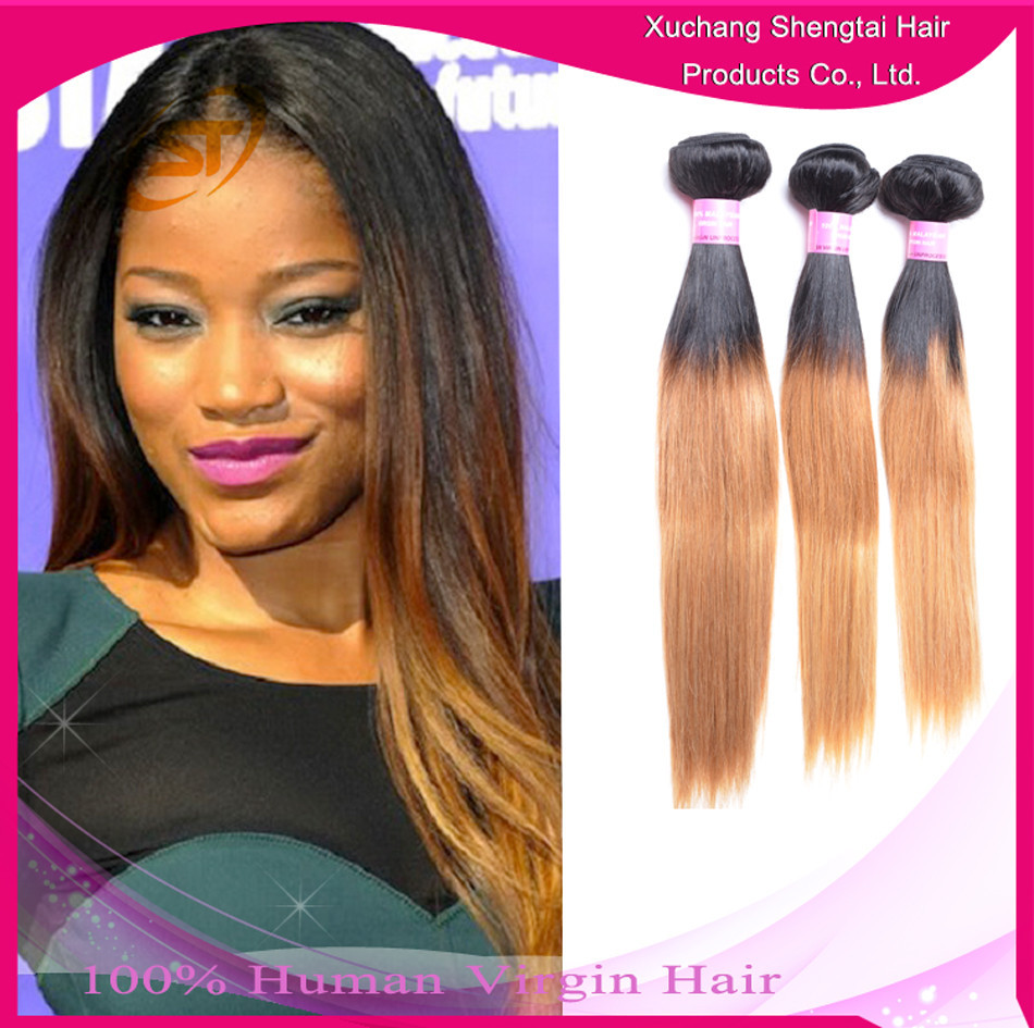 New Come Same Style With Hot Star XC ShengTai Silk Straight Ombre Hair Weave