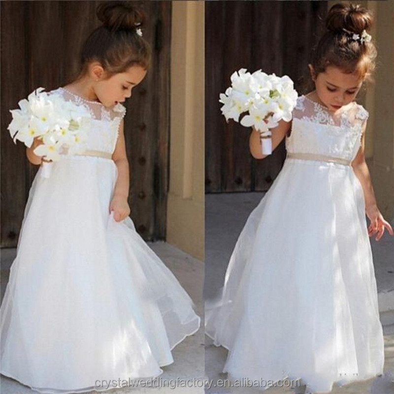Latest Children A Line Wedding bridesmide dresses Frocks Birthday Lace A Line Long Flower Girl Dresses LF32