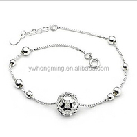 2015 Fashion 925 sterling silver bracelets with ball women lady charm 925 silver bracelets chains