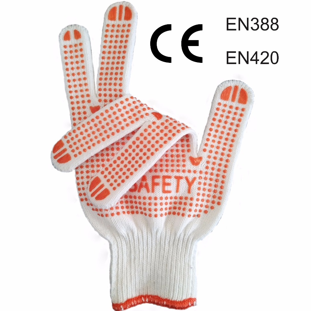 Top Quality Knitted Poly Cotton Both Sides PVC Dotted Safety Gloves