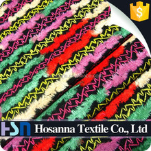 Fashion Multi Color Woolen Crewel Embroidery Fabric with Long Velvet
