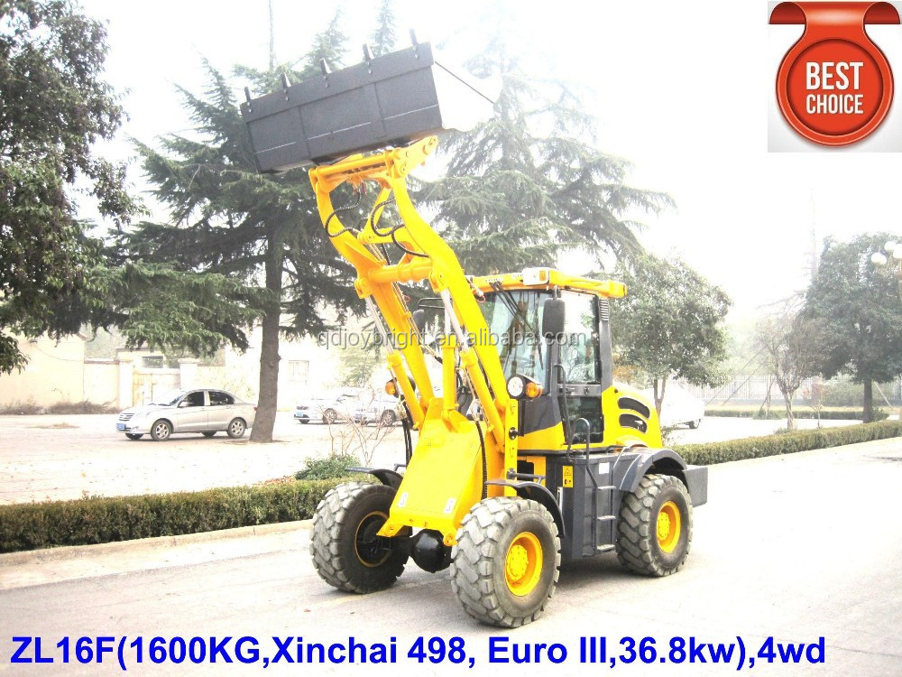 Hydraulic 1.6ton wheel loader,4wd with CE,49.3HP,wider tyre,cabin,adjustable steering,3-way pilot control