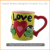 Cartoon animal hand-painted mug with figurine inside