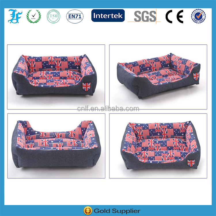 Union Jack Textile Jeans Pet Bed for Dogs