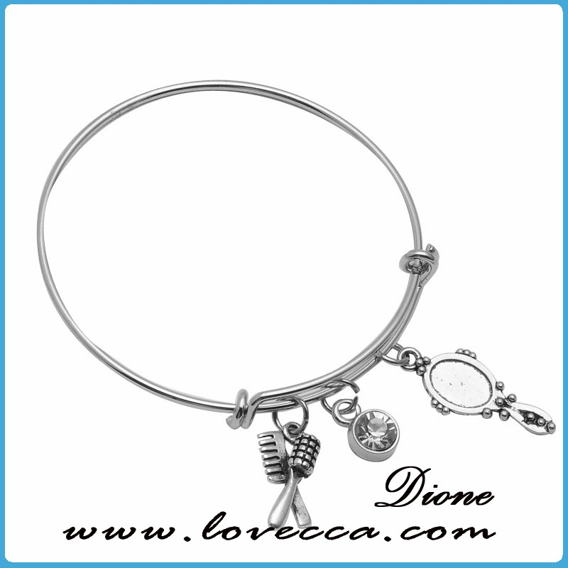 Guangzhou high quality Customized Charms Women Expandable Wire Bangle Bracelet