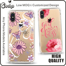 Amusing Whimsical Flower Design Clear Bumper PC Hard Case PC Slim Fit Skin Cover for iPhone 8 Cell Phone Case