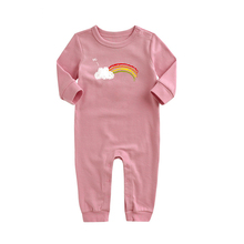 Online Shopping 100% Cotton Baby Girls Clothes Casual Knitted Print Design Coverall Romper