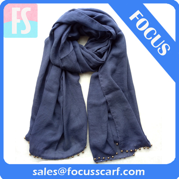 plain polyester scarf with beads
