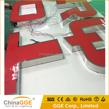 Customized Design Acrylic 3D Illuminated LED Channel Letter Sign with Mirror Stainless Steel Letter Shell