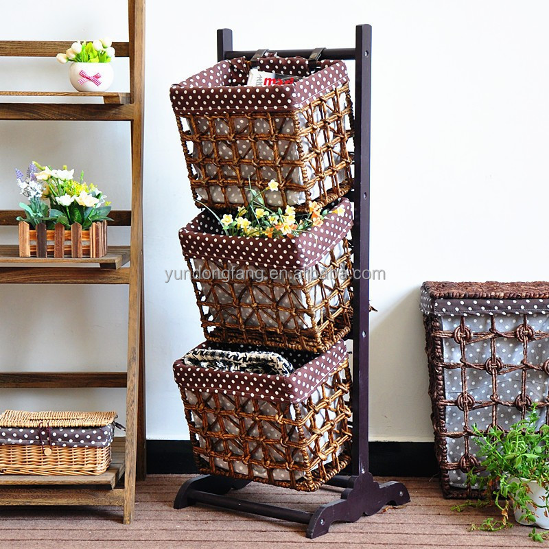Brown wholesale 3 tiers wood Shelf Hanging Storage Baskets/magazine Rack