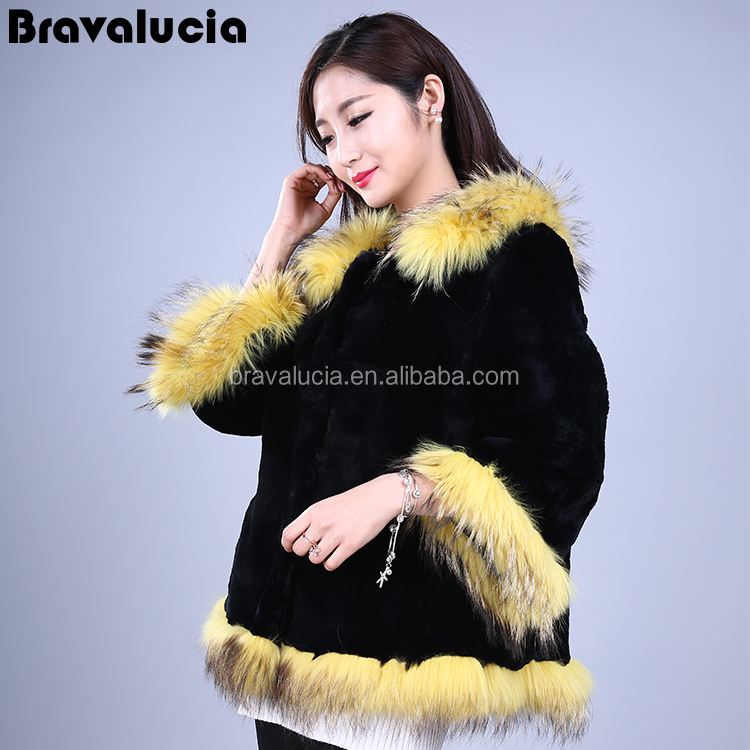 New 2017 natural rex rabbit fur coat woman short fur jacket winter fur coat