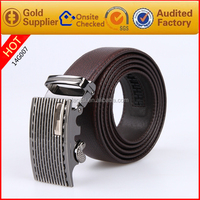 Auto lock buckle men belt China belt manufacturer