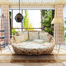 Luxury Elegant Customized Rattan Round Daybed, Classic Home Patio Wicker Sun Lounge BF12-12134a