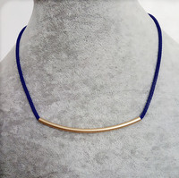 Blue cord arc metal circular tube necklace boho jewelry costume jewelry