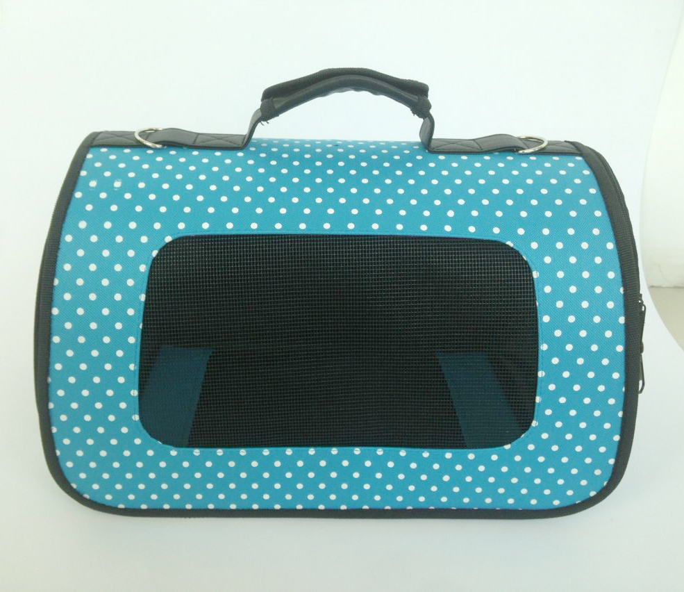 Blue vintage pet carrier 600D oxford dot printing for small dogs and cats