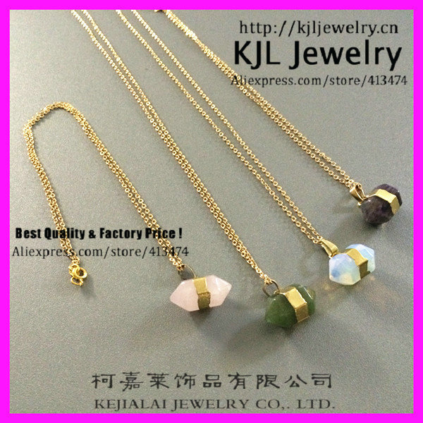 GZKJL-CT0315 Newest Gold chain 24k Edge women Moonstone, amethyst, green stone Rose pink quartz necklace