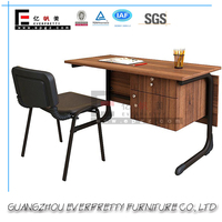 Everpretty Unique 2 Drawer Teak Wood Office Desk Table with Formica Top Board for School Office Furniture
