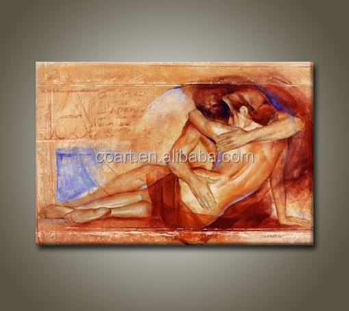 hot nude sex woman and man body oil painting on canvas