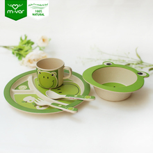 FDA free lovely frog natural bamboo dinner set for kids