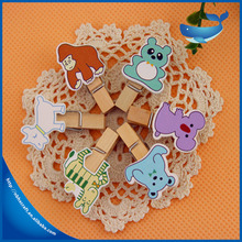 Most hot popular items cute paper wooden clips for office,special animal shape wooden clips
